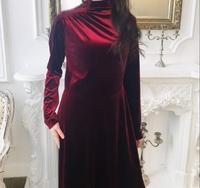 Вечернее мусульманское платье Бордовый бархат